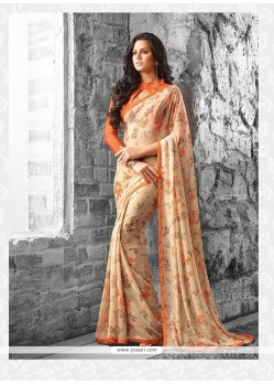 Beauteous Georgette Beige Casual Saree
