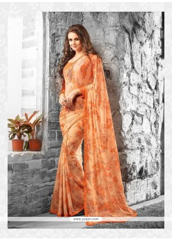 Latest Orange Georgette Casual Saree