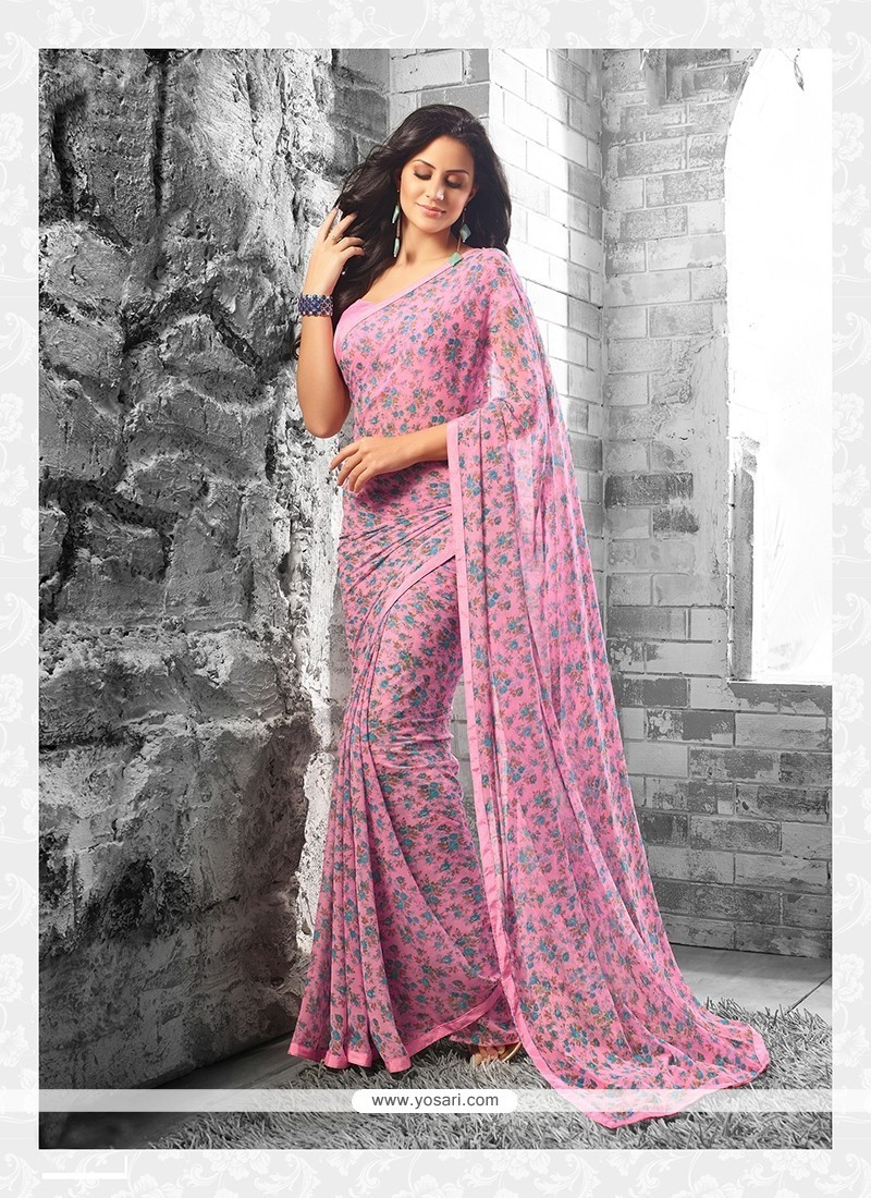 Awesome Pink Print Work Georgette Casual Saree