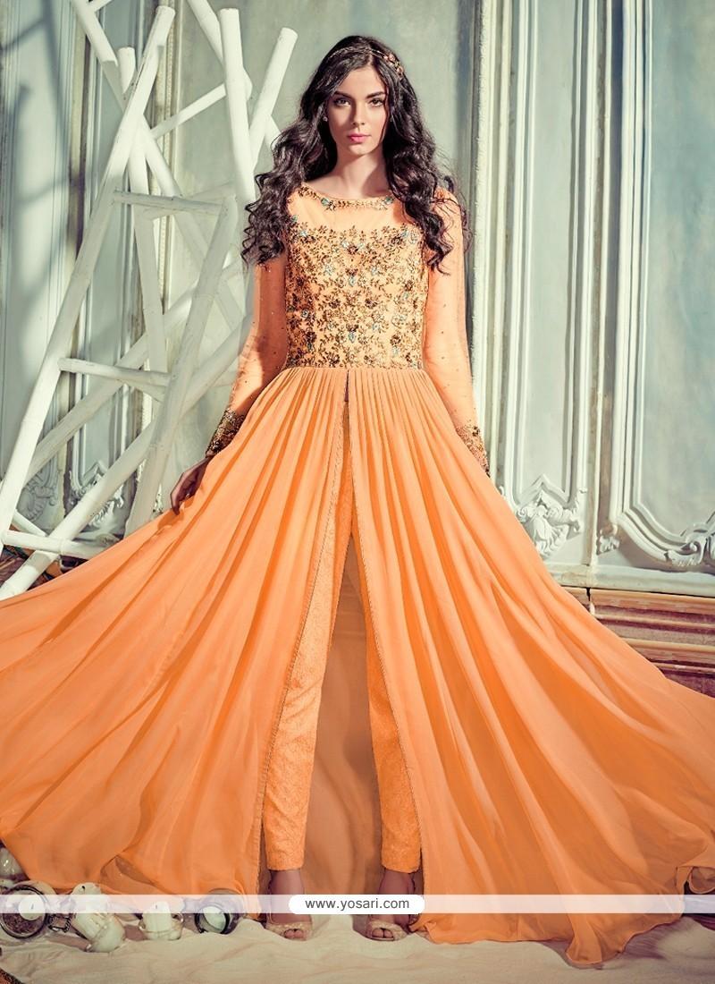 Stunning Resham Work Orange Pant Style Suit