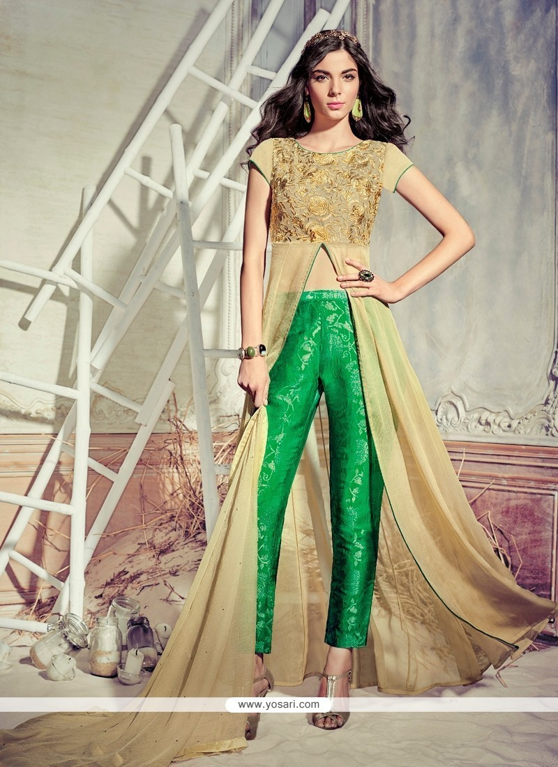 Magnetize Embroidered Work Faux Chiffon Pant Style Suit