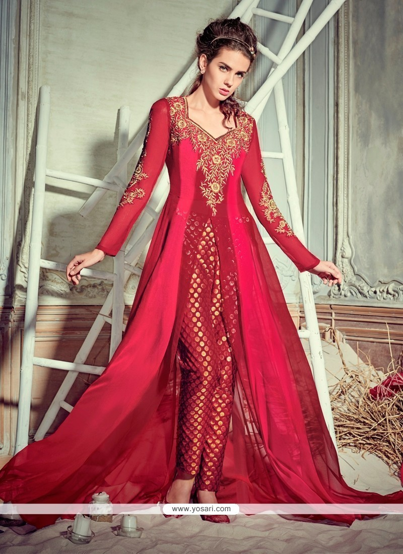 Sumptuous Maroon Embroidered Work Georgette Pant Style Suit