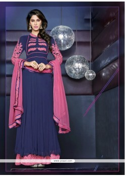 Baronial Blue Embroidery Anarkali Suit