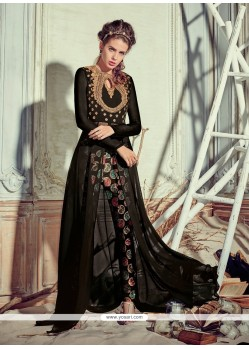 Resham Georgette Pant Style Suit In Black