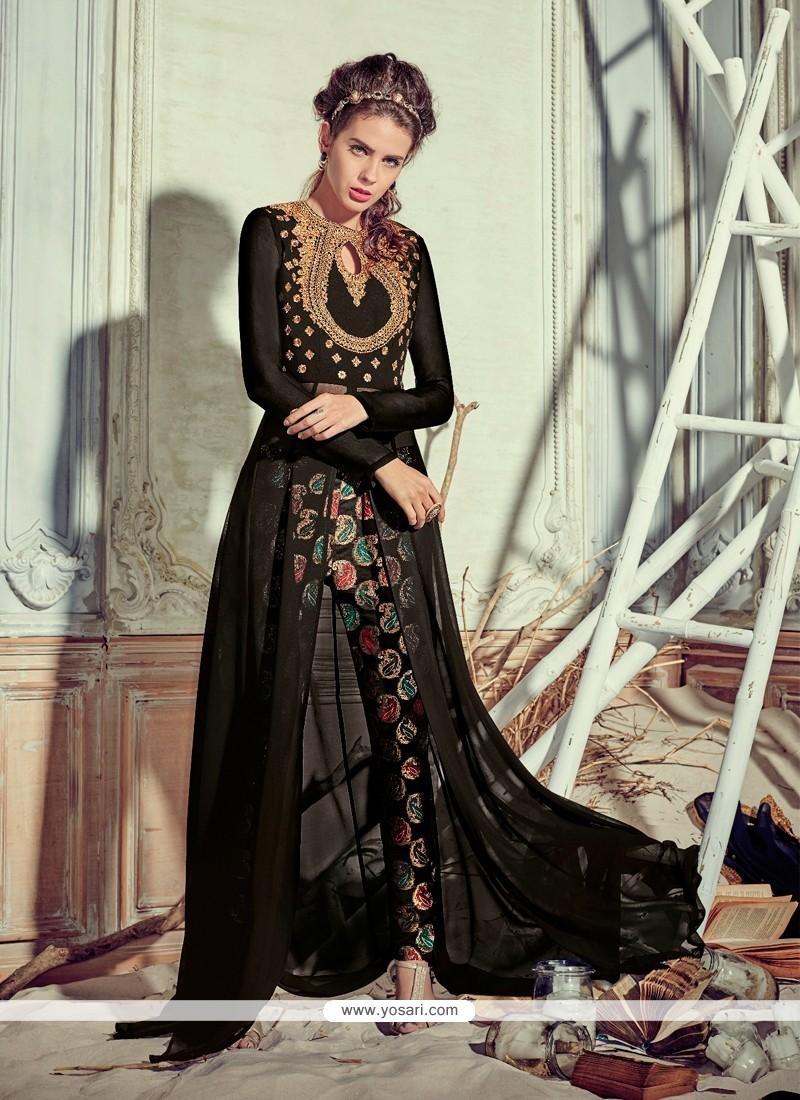 Resham Georgette Pant Style Suit In Black