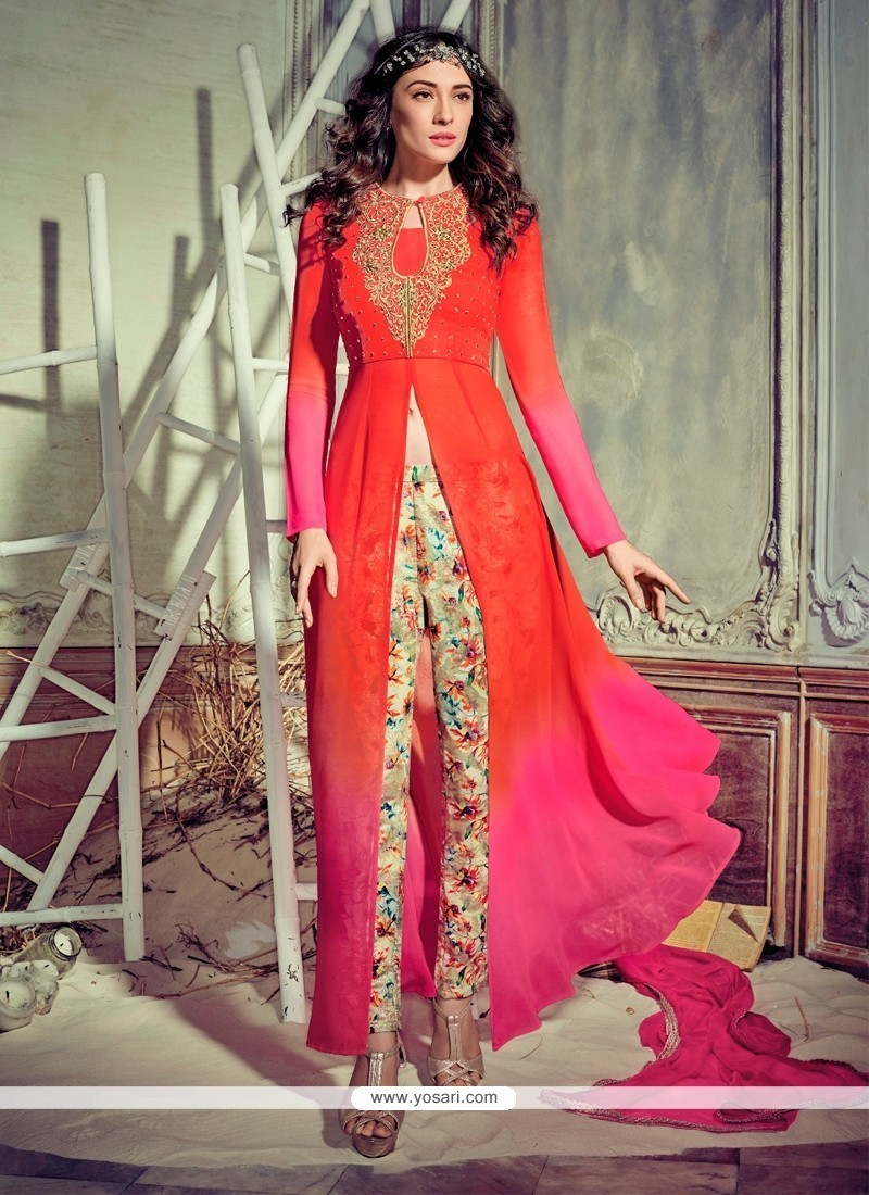 Subtle Georgette Hot Pink And Orange Pant Style Suit