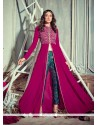 Prepossessing Magenta Embroidered Work Georgette Pant Style Suit