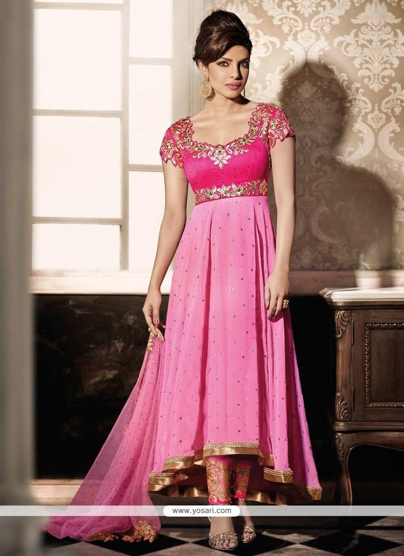 Priyanka Chopra Pink Anarkali Salwar Kameez