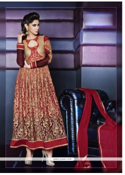 Angelic Red Georgette Anarkali Suit
