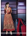 Angelic Red Georgette Anarkali Suit
