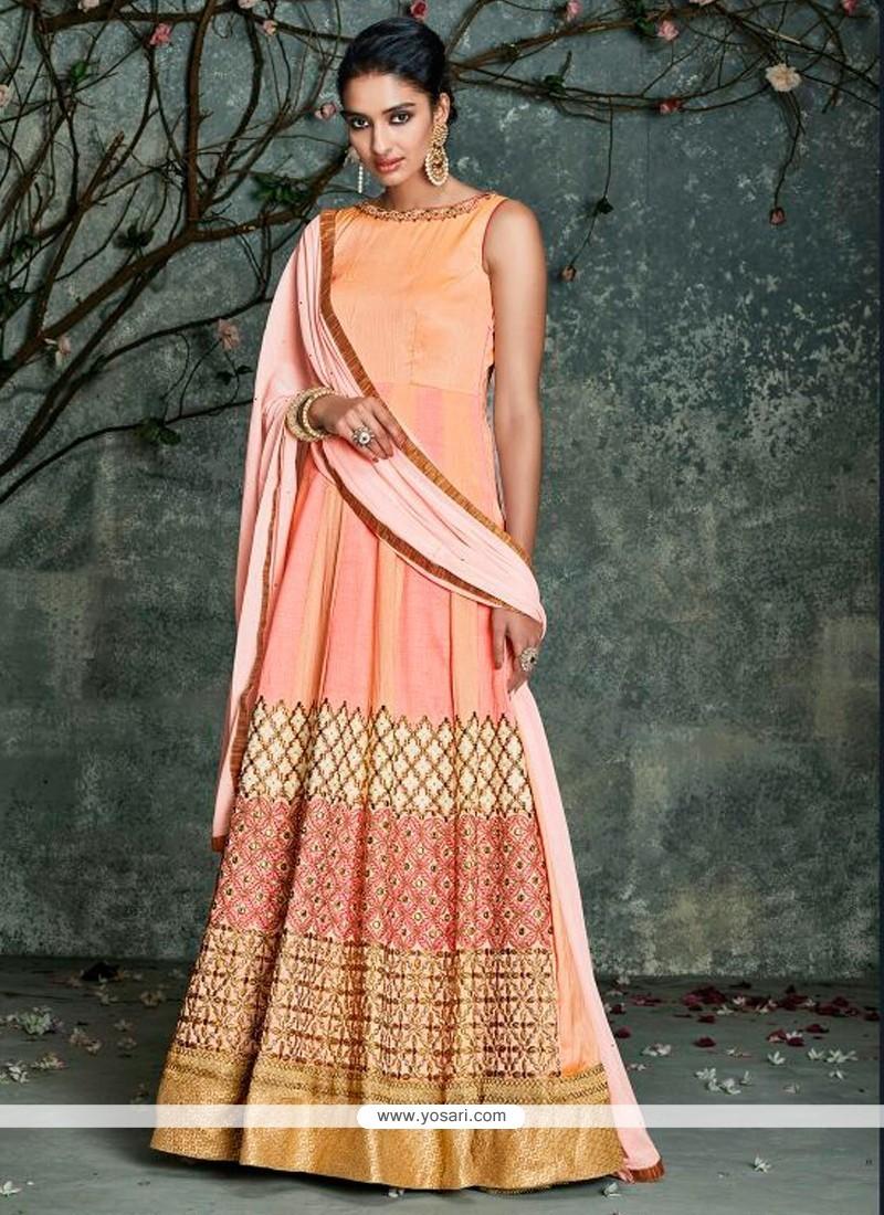 417361746a Buy Beauteous Peach Silk Anarkali Salwar Kameez Online : Indian ...