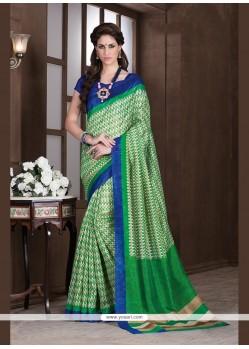 Vehemently Handloom Silk Green Printed Saree