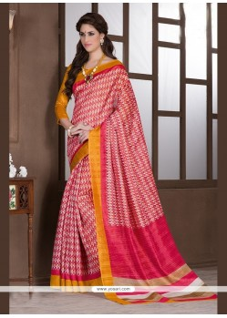 Prepossessing Print Work Pink Handloom Silk Printed Saree