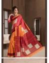 Voluptuous Orange Handloom Silk Printed Saree