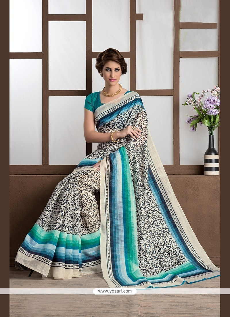 Trendy Handloom Silk Print Work Printed Saree