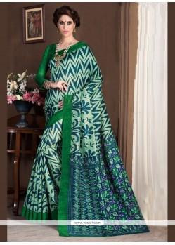 Modish Handloom Silk Green Print Work Printed Saree