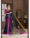 Lurid Handloom Silk Black Printed Saree