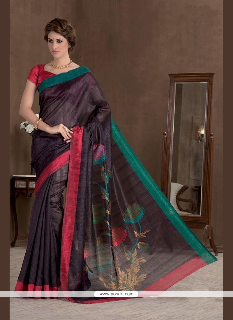 Flawless Print Work Handloom Silk Printed Saree