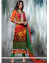 Flawless Orange Georgette Churidar Suit