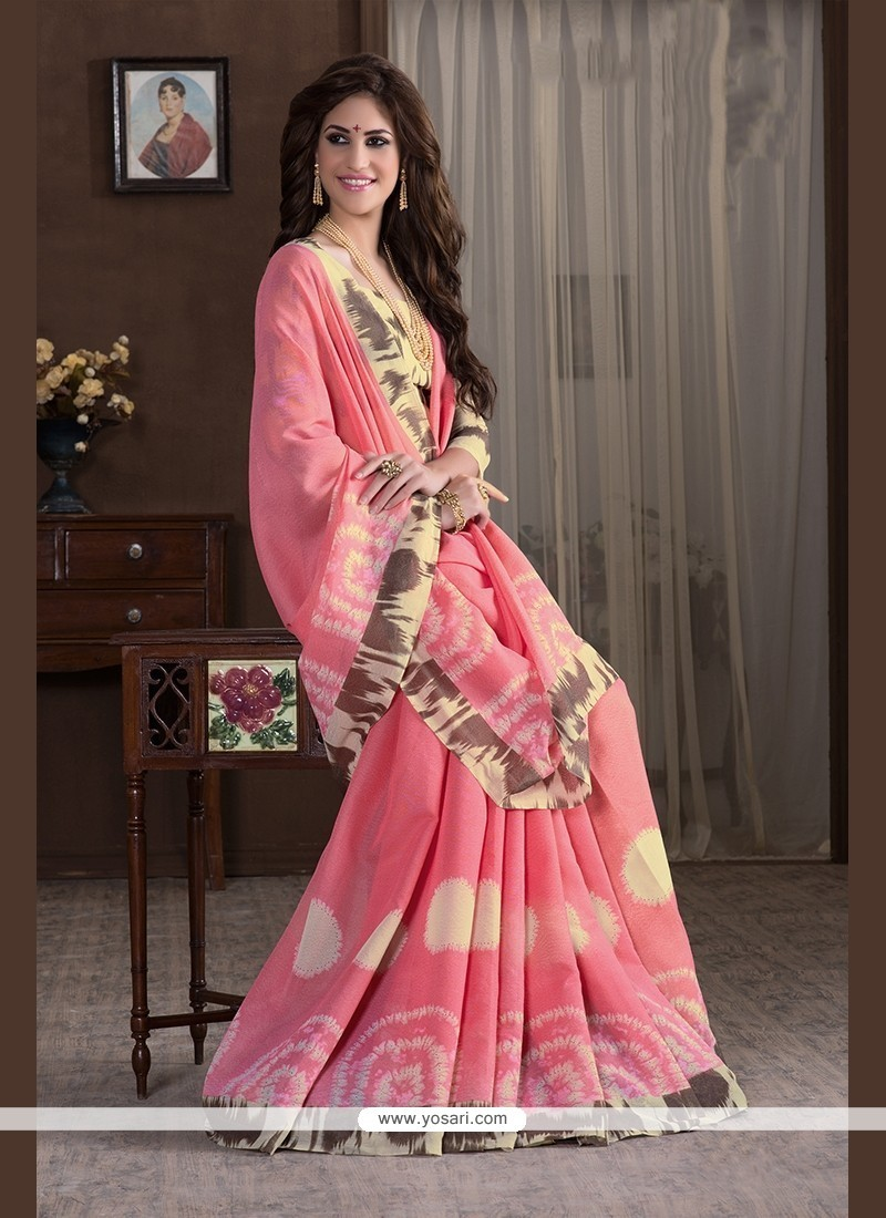Delightful Print Work Handloom Silk Printed Saree