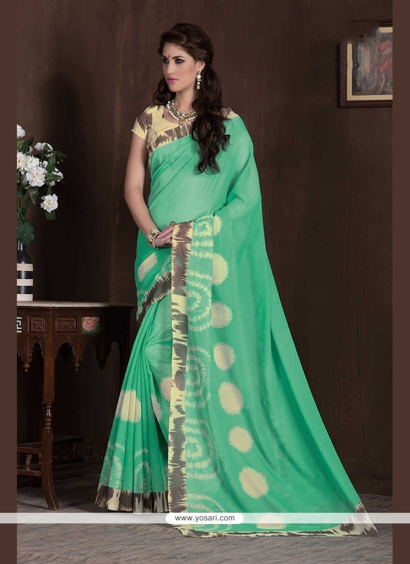 Gleaming Handloom Silk Sea Green Print Work Printed Saree