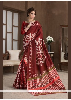 Gratifying Print Work Handloom Silk Printed Saree