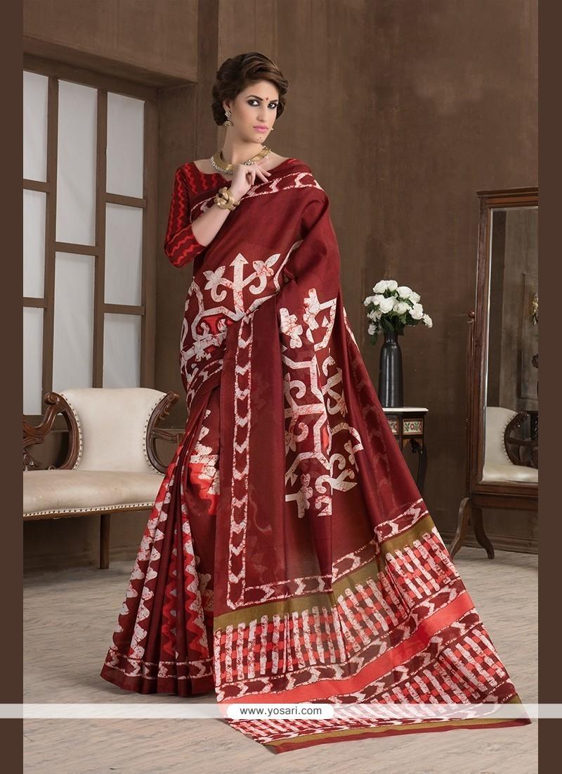 Gratifying Print Work Handloom Silk Printed Saree