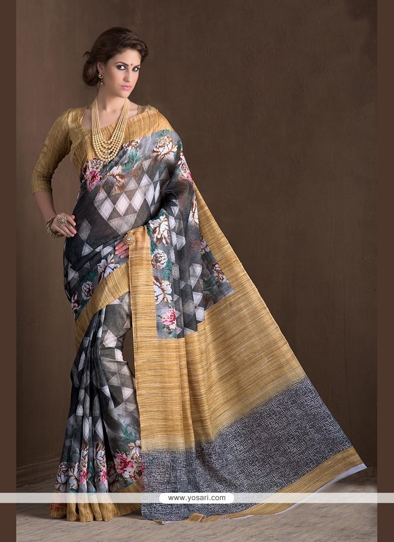 Intricate Handloom Silk Multi Colour Printed Saree