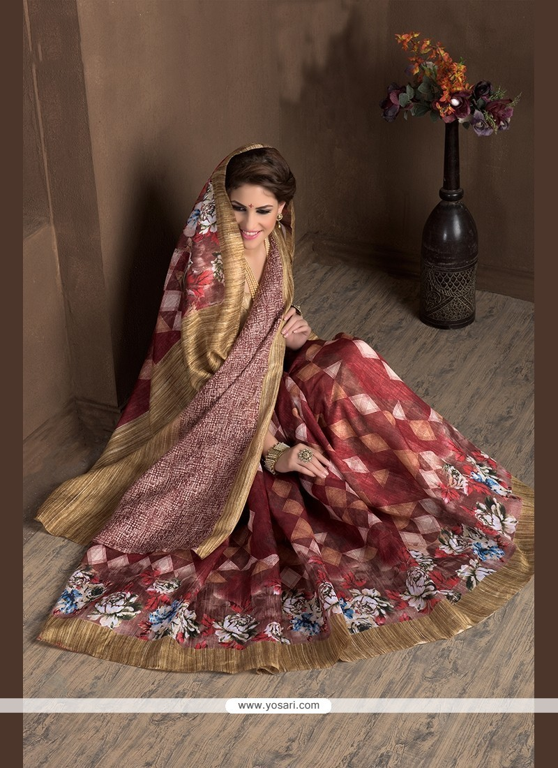 Congenial Handloom Silk Print Work Printed Saree