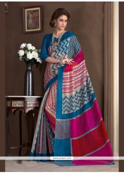 Magnificent Print Work Handloom Silk Printed Saree