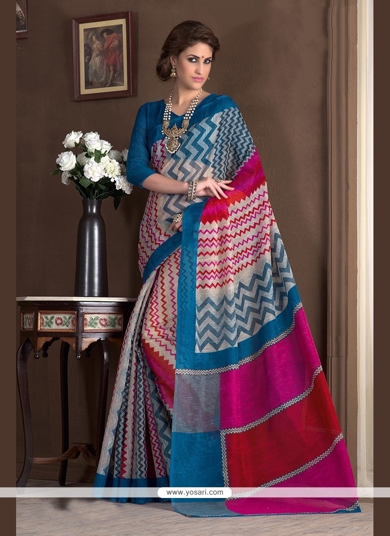 Magnificent Print Work Handloom Silk Printed Saree