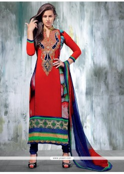 Red Zari Churidar Suit