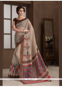 Integral Print Work Beige Printed Saree
