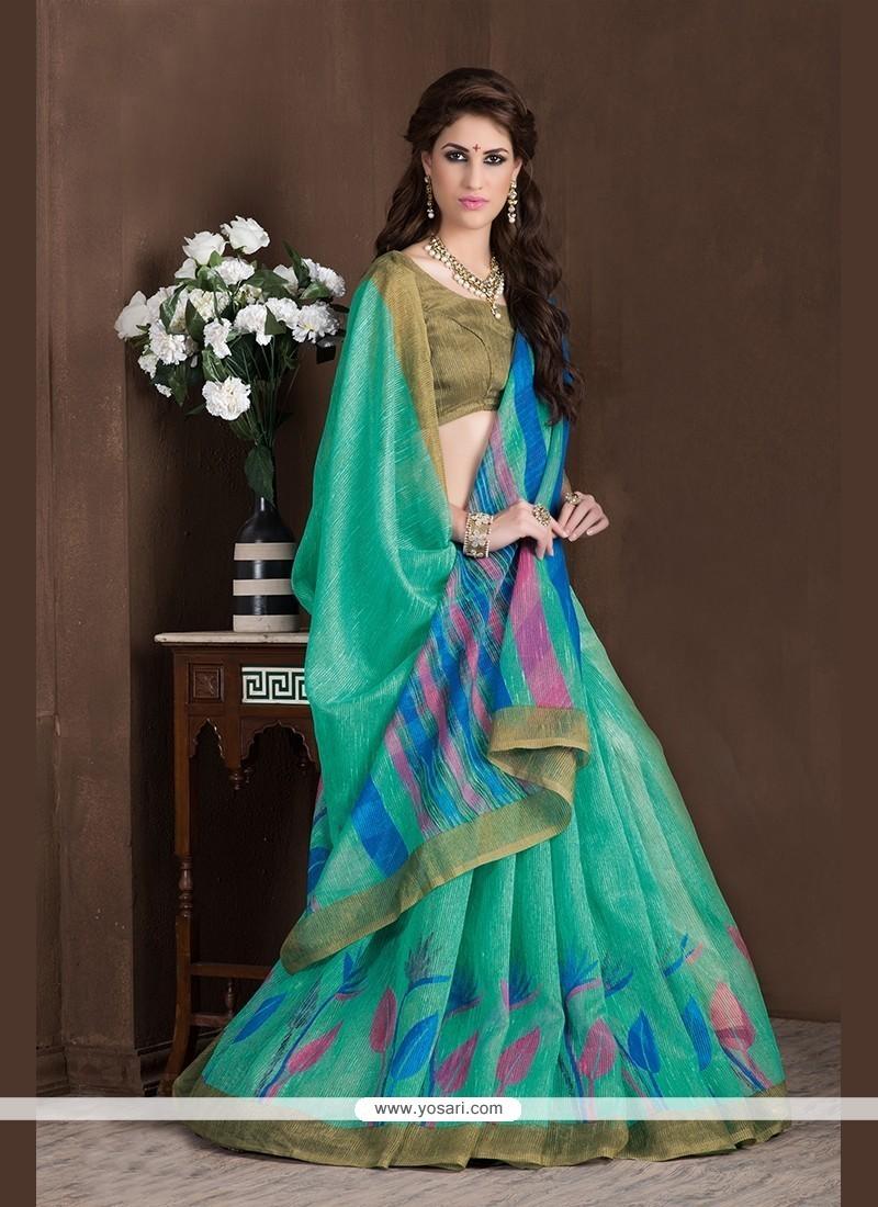 Imperial Sea Green Printed Saree