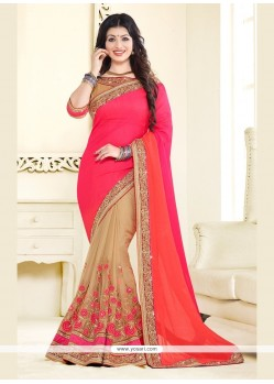 Ayesha Takia Beige And Rose Pink Embroidered Work Classic Designer Saree