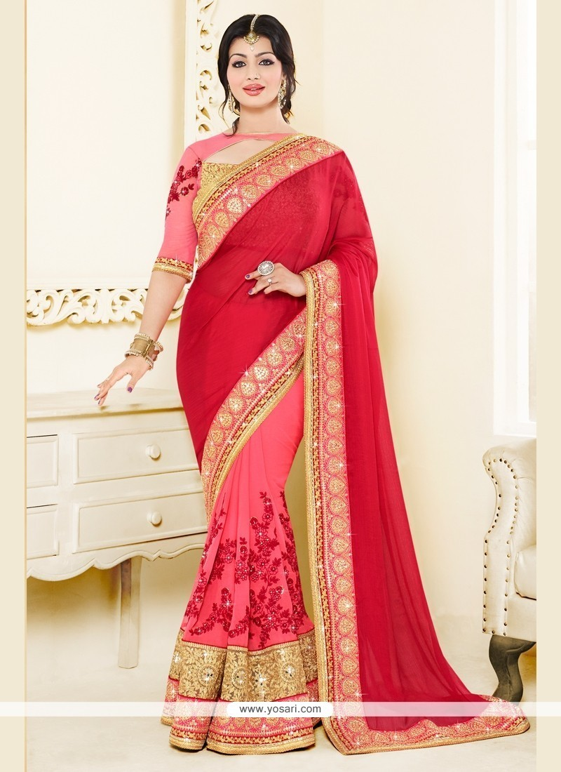 Ayesha Takia Embroidered Work Hot Pink And Red Silk Classic Designer Saree