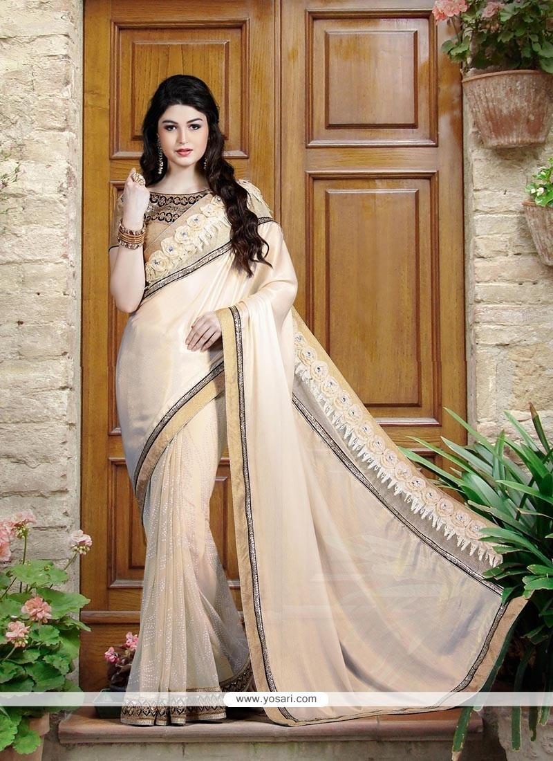 Opulent Cream Designer Saree