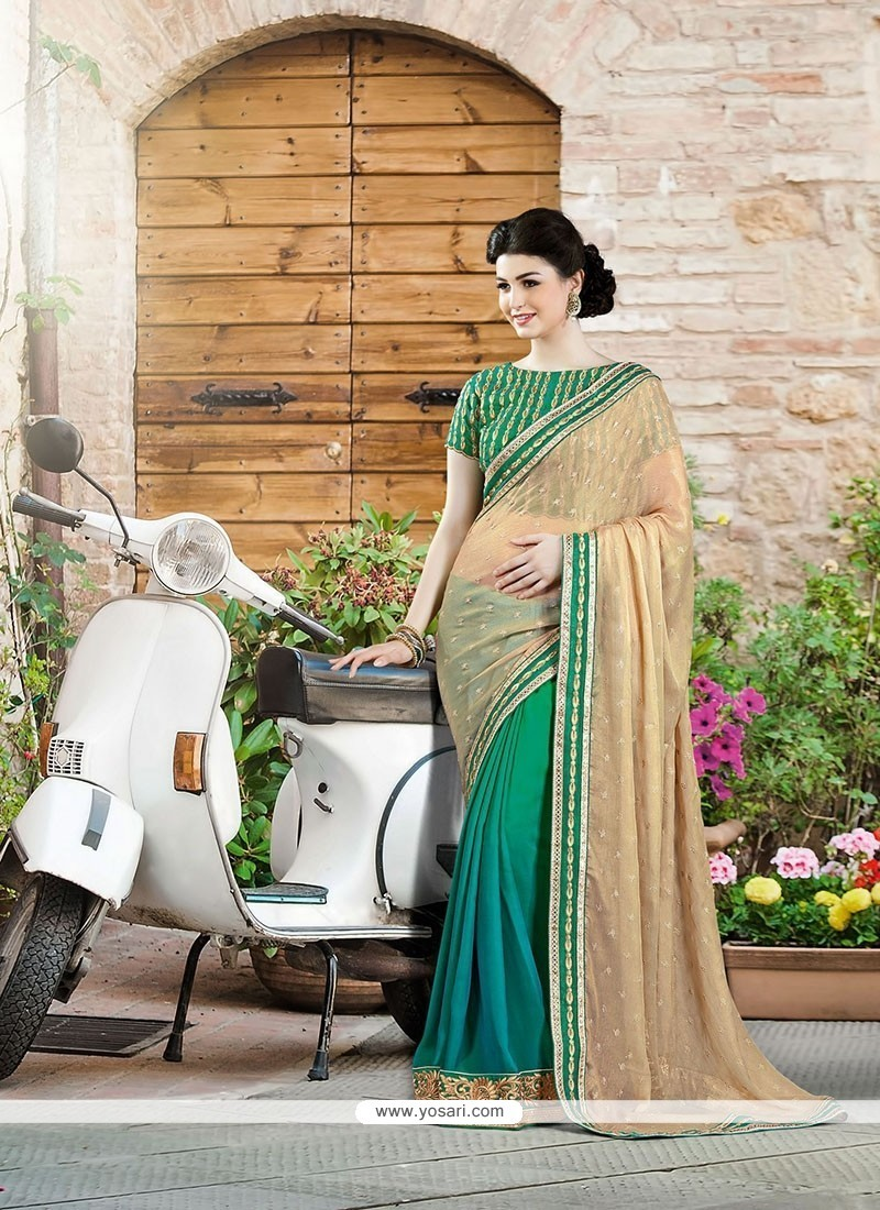 Lustrous Green Embroidered Work Georgette Designer Saree