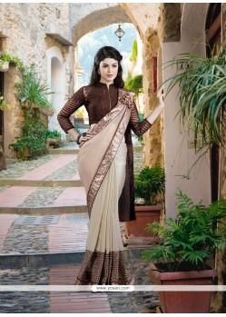 Modern Beige Embroidered Work Net Designer Saree