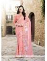 Invigorating Pink Embroidered Work Faux Chiffon Designer Saree