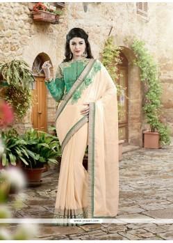 Embroidered Faux Chiffon Designer Saree In Cream
