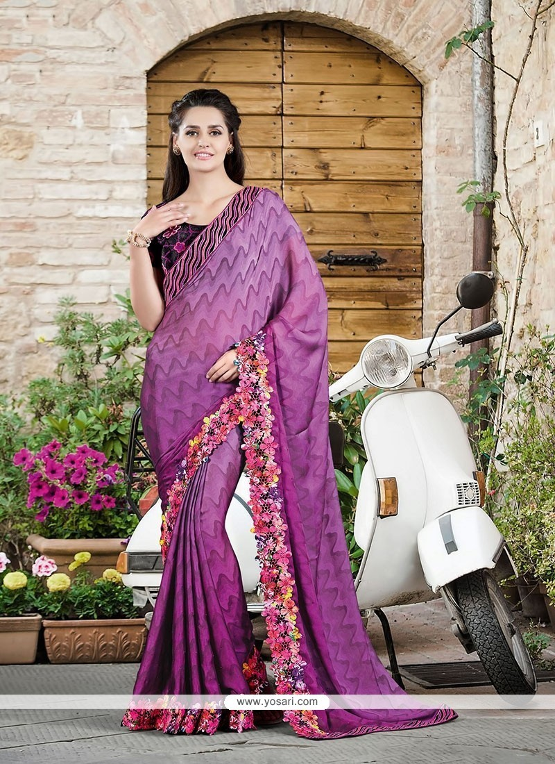 Demure Purple Embroidered Work Designer Saree