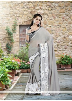 Imperial Grey Silk Designer Saree