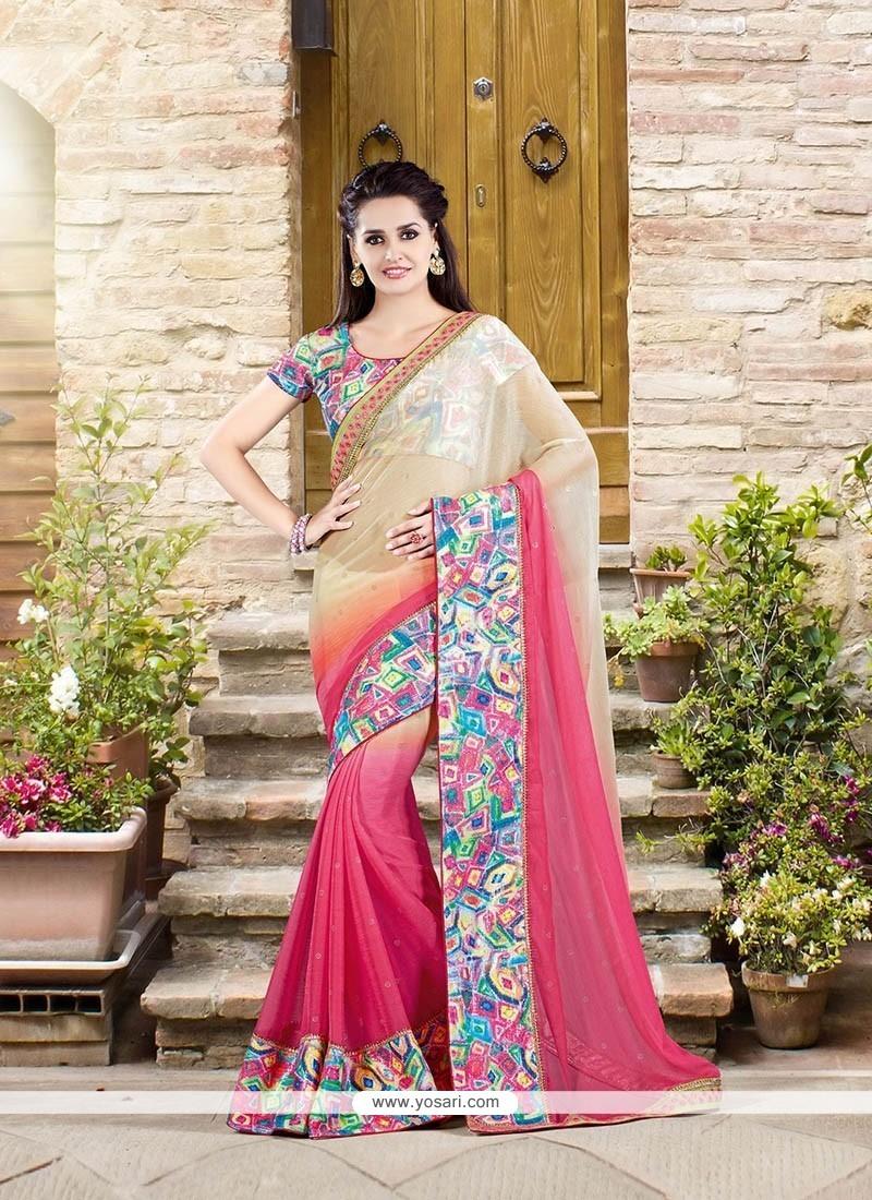 Aristocratic Faux Chiffon Pink Designer Saree