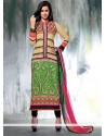 Cream Georgette Churidar Salwar Kameez