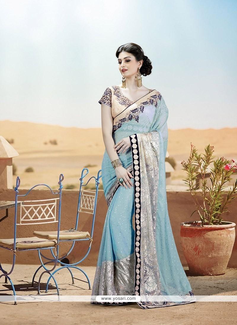 Splendid Net Embroidered Work Designer Saree