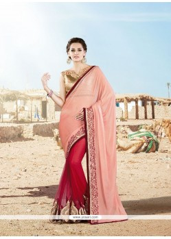Embroidered Lycra Designer Saree In Pink