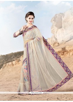 Captivating Patch Border Work Net Designer Saree