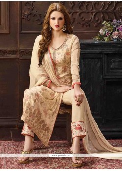 Pleasing Georgette Cream Print Work Pant Style Suit