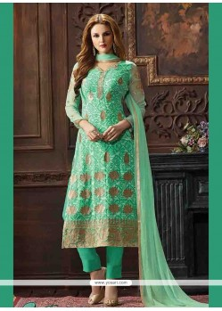 Arresting Print Work Sea Green Georgette Pant Style Suit